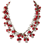 Red Coral Necklace/ Crystal Quartz/ Sterling Silver/Earrings