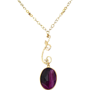 Purple Banded Agate Necklace/14k Gold