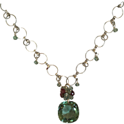 Green Amethyst Necklace/Topaz/Tourmaline/Sterling Silver
