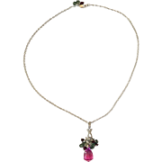 Pink Topaz Necklace/Green Topaz/ Raspberry Tourmaline/ Rhodium/ CZ's/ Sterling Silver