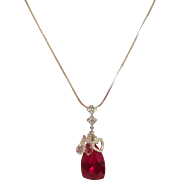 Ruby Red Briolette Quartz Crystal Drops Rhodium Cz's Swarovski Crystals Sterling Silver Necklace