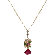 Rubelite Corundum Pink Necklace/ Tourmaline/ Cultured Pearls/ Sterling Silver/ Earrings