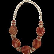 Orange/ White Banded Sardonyx Necklace/Carnelian/Sterling Silver/Earrings