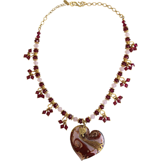 Pink/Red Murano Glass Heart Pendant and Bali Vermeil Necklace