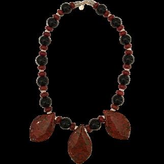 Cape Jasper Teardrops Black Onyx Carnelian Sterling Silver Necklace Set