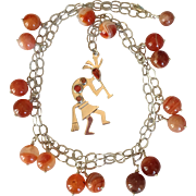 Southwestern Native American Indian Kokopelli Long Necklace/ Carnelian/ Sterling Silver