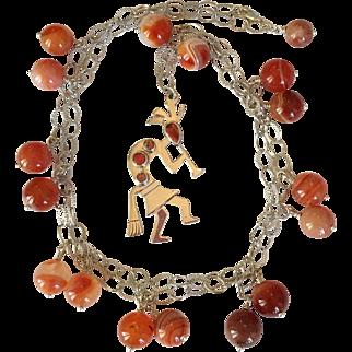 Sterling Silver Southwestern Native American Indian Kokopelli  Carnelian Long Necklace