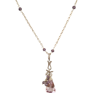Pink Amethyst Faceted Trillion Cut Briolette - Purple Amethyst – CZ's - Sterling Silver Necklace