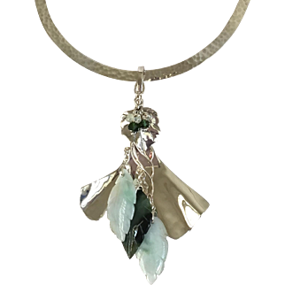 Green Jade Sterling Silver Carved Leaves Green Tourmaline Prehnite Pendant Sterling Choker Style Necklace