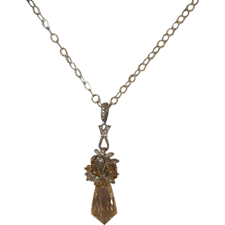 Citrine Chandelier Faceted Briolette – Labraodrite – CZ's – Sterling Silver Necklace