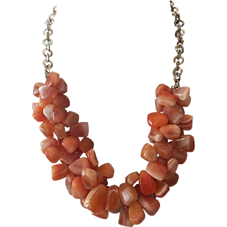 Tumbled Banded Carnelian Nuggets – Sterling Silver Three Strand Necklace Set