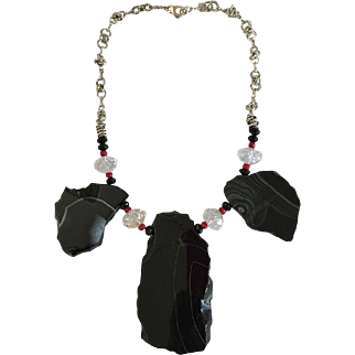 Sardonyx Slabs Necklace/Red Coral/Swarovski Crystals/Sterling Silver/Earrings