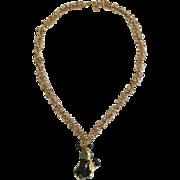 Green Tourmaline & Green Crystal Necklace/Prehnite/24k/14k Gold