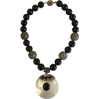 Black Onyx Necklace/Mother of Pearl Sterling Artisan Pendant/Sterling Bali Beads/Vintage Box Clasp/Earrings/OOAK