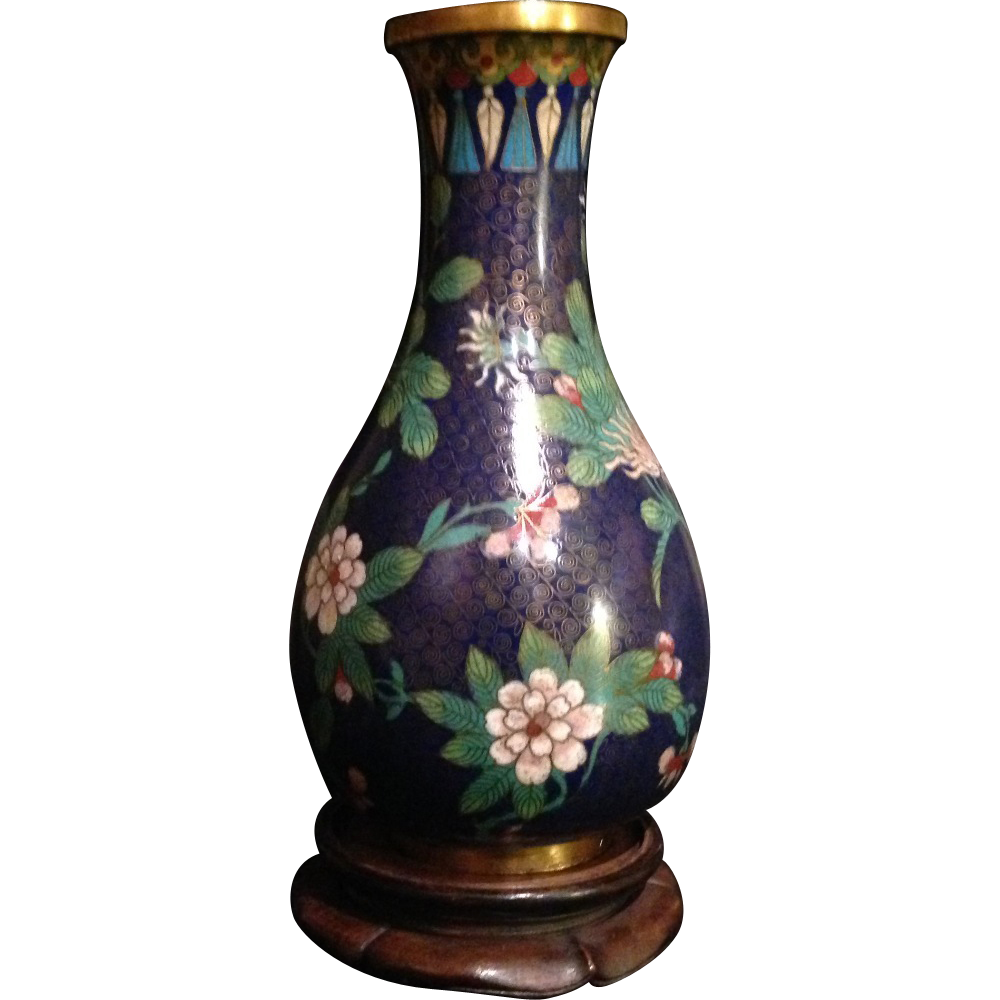 Chinese Vintage Cloisonne Dark Blue Floral Vase Sold On
