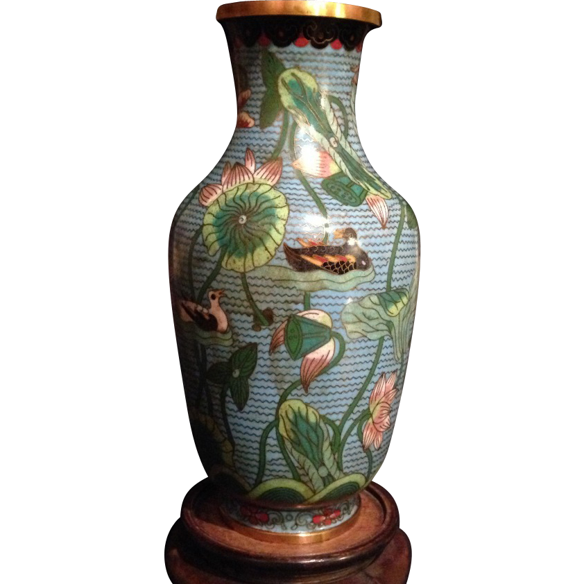 chinese vintage cloisonne and brass turquoise baluster vase