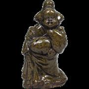 Japanese Antique Tanba-yaki 丹波焼き Okimono or Statue of Otafuku