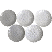Japanese Koransha 香蘭社 Pure White Porcelain Plate Set of Five, in Low Relief
