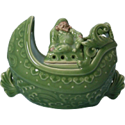 Japanese Kyoto Ware Rare Celadon Glaze Koro of a Hotei on a Ship by Famous Master Potter Kako Morino 森野加古 - Red Tag Sale Item