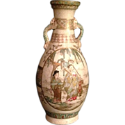 Japanese Antique Satsuma-yaki 薩摩焼  Pottery Vase Painted with Emperor and Flowers