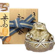 Japanese Vintage Shigaraki Ware Pottery 信楽 of a Tanuki 狸 Kogo by Human Cultural Treasure the 3rd Rakusai Takahashi 利休信楽