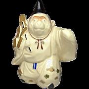Japanese Kyoto Ware Pottery Ornament of Monkey by 1st class potter 石田 来之助 Rainosuke Ishida