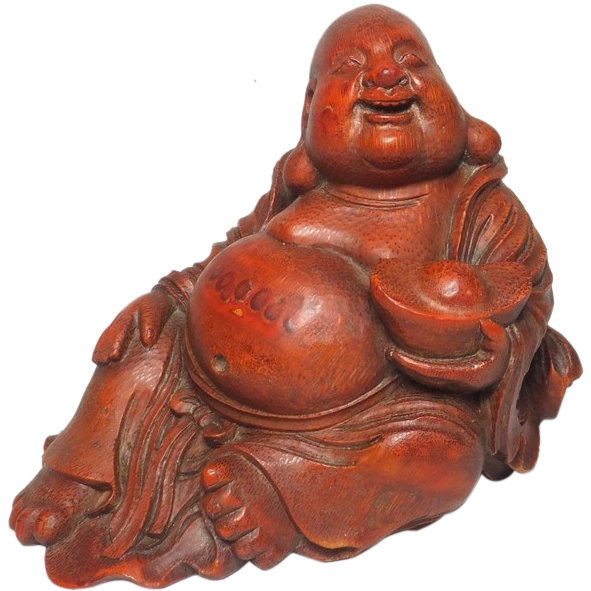 Chinese Vintage Hand Carved Bamboo Statue of a Budai the Deity Symbol of Happiness