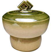 Japanese Contemporary Green Glazed Pottery Mizusashi  or Canister