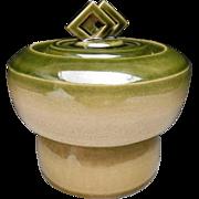 Japanese Contemporary Green Glazed Pottery Mizusashi  or Canister