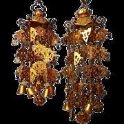"A Japanese Vintage Set of Four Brass 瓔珞 Yoraku (""Hanging Lantern"") Ornaments"