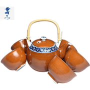 Japanese Vintage Kyoto Ware Porcelain Tea Pot and Teacup Set