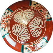 Japanese Vintage Inuyama 犬山 Ware Porcelain Kogo or Lidded Box of the Famous Tokugawa Shogunate Crest