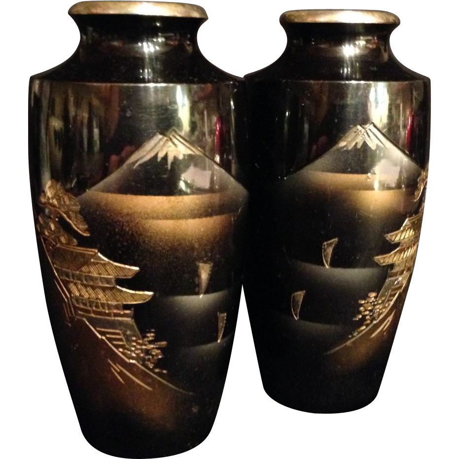 Japanese Vintage Pair of MetalWare Vases with Mt. Fuji Scene