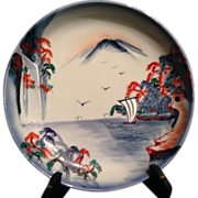 Japanese Vintage Porcelain  Large Plate Raised Enamels of Ododome Waterfall at Mt. Fuji Scene