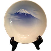 Japanese Antique 深川  Fukagawa Porcelain Blue and White Plate of Mt. Fuji