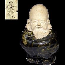 Japanese Oribe Pottery Okimono or Ornament Fukurokuju of the Seven Lucky Gods