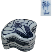 An Unusual Japanese Kyoto Ware Porcelain Kogo or Box of a Ginkgo Tree Famous Denshichi Kanzan V 幹山伝七