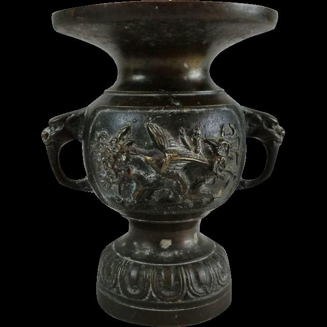Japanese Vintage Bronze Kabin or Flower Vase for Butsugu 佛壇 Butsudan