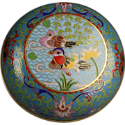 Chinese Cloisonne Box with Mandarin Ducks and Lotus Flower