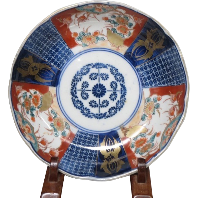 Japanese Antique Imari Porcelain Namasu Colorful Plate