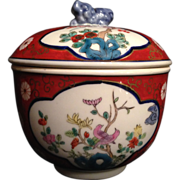 Japanese Vintage Arita/ Imari Porcelain Colorful Tea Jar/ Canister with Foo Dog Finial