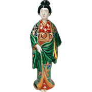 Japanese Fine Vintage Kutani 九谷  Porcelain Okimono or Statue of a Bijin or Beautiful Woman