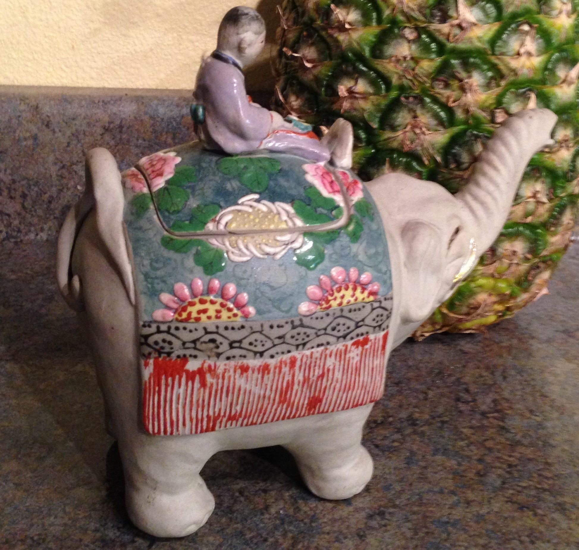 Japanese vintage banko ware teapot of a child on an elephant from manyfacesofjapan on ruby lane - Elephant shaped teapot ...