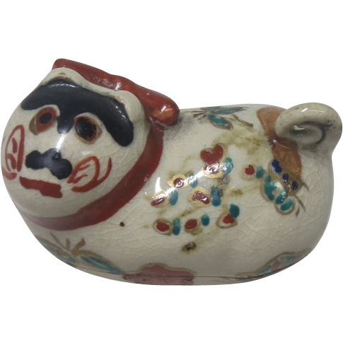 Japanese Vintage Kyoto Ware Pottery Kogo or Case  of a Female Puppy