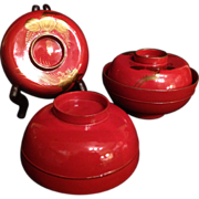 Japanese Antique Lacquered Wood Set of Five Bowls with Gold Makie - Red Tag Sale Item