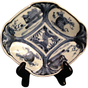 Japanese Antique ko-Imari Porcelain Hishigata-Zara Blue and White Plate with Old Kiln Mark