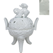 Japanese Vintage Arita Mikawachi Hirado 平戸 Porcelain Koro with Foo Dog by the 15th Great Moemon Nakazato