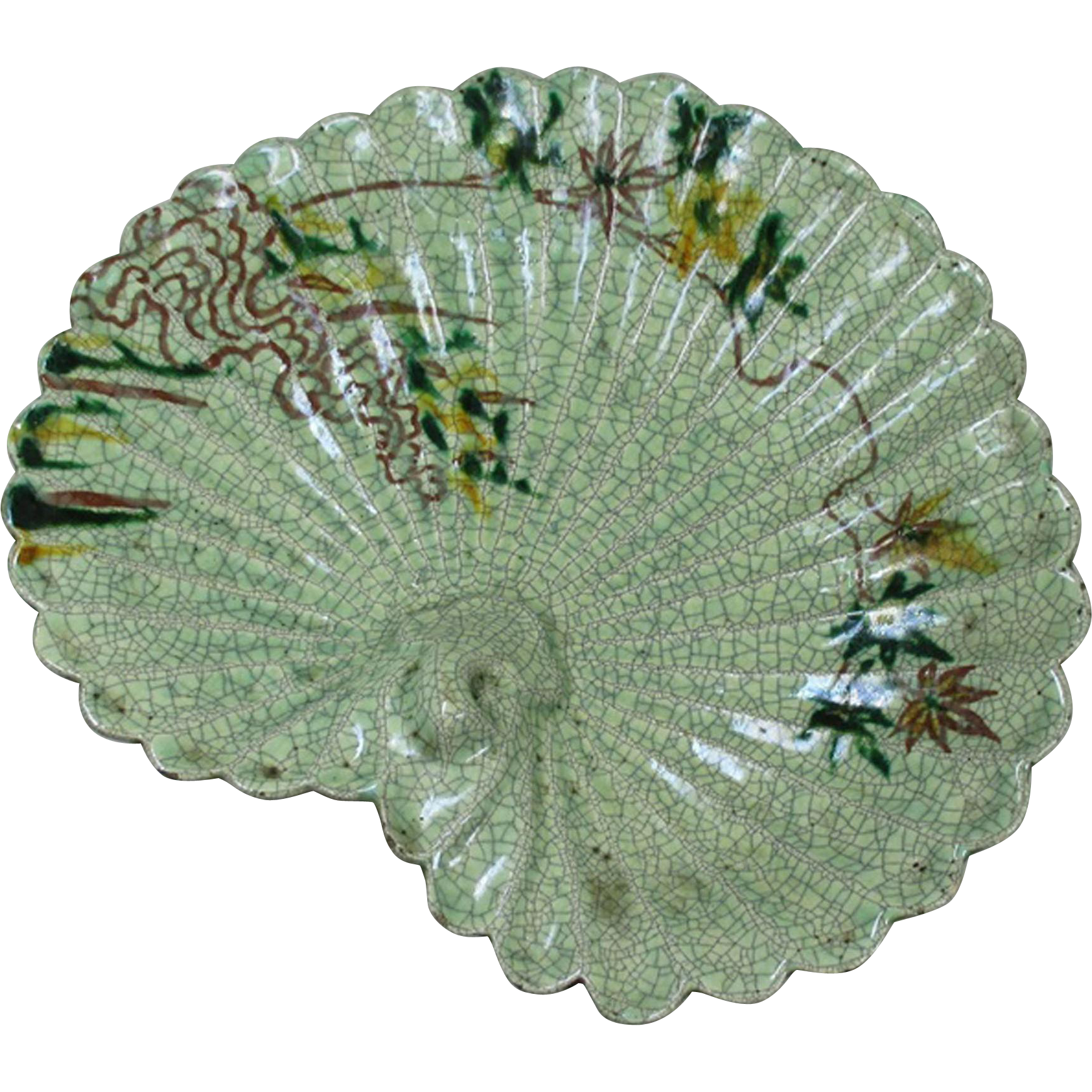 Japanese Antique 楽焼 Raku-yaki Plate Midori Lotus Leaf Relief