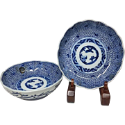 Japanese Antique 伊万里 ko-Imari Pair of Porcelain Blue and White Namasu Bowls in Mijin- karakusa Design
