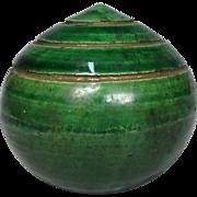 Japanese Antique 楽 Raku Ware Pottery Ornament or Small Statue of Hōju 宝珠, Wish Granting Jewel
